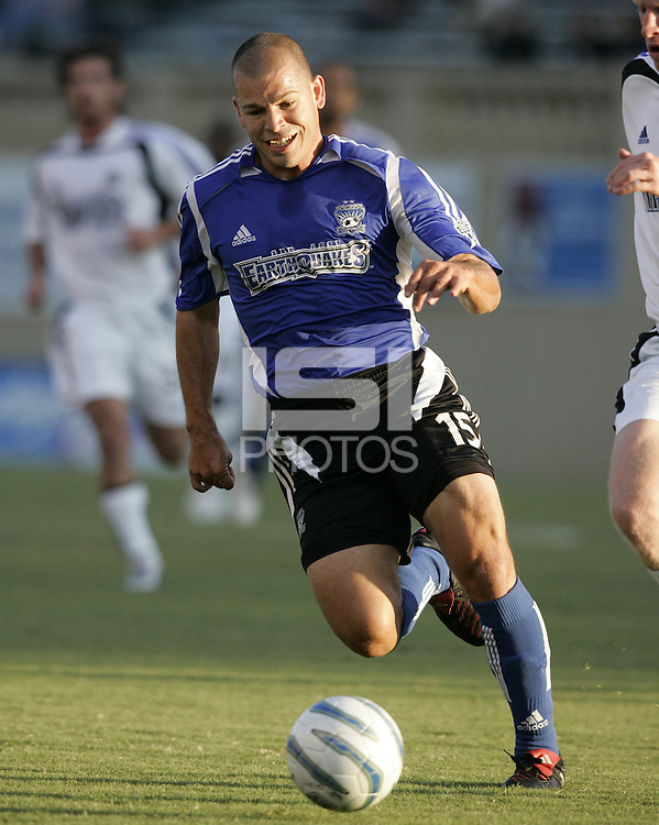 13 August 2005: Alejandro Moreno of the Earthquakes in action against the Rapids at Spartan Stadium in San Jose, California.  Earthquakes tied Rapids, 1-1.