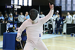 11 February 2017: UNC's Matt Shlimak (right) reacts during Epee. The Duke University Blue Devils hosted the University of North Carolina Tar Heels at Card Gym in Durham, North Carolina in a 2017 College Men's Fencing match. Duke won the dual match 19-8 overall, 6-3 Foil, 6-3 Epee, and 7-2 Saber.