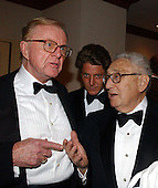 Talk show host John McLaughlin and former United States Secretary of State Henry Kissinger share some thoughts prior to the 2003 White House Correspondents Dinner at the Washington Hilton Hotel in Washington, DC, April 26, 2003..Credit: Ron Sachs / CNP