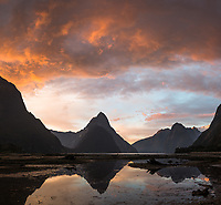 Sunset over Milford Sound and Mitre Peak, Fiordland National Park, Southland, South Island, UNESCO World Heritage Area, New Zealand, NZ