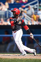 Batavia Muckdogs third baseman Javier Lopez (23) at bat during a game against the Auburn Doubledays on September 5, 2016 at Dwyer Stadium in Batavia, New York.  Batavia defeated Auburn 4-3. (Mike Janes/Four Seam Images)