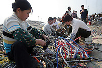 Junk yard workers strip wires from electronic trash in Guiyu, China March 8, 2005. For years, developed countries have been exporting tons of electronic waste to China for inexpensive, labor-intensive recycling and disposal.