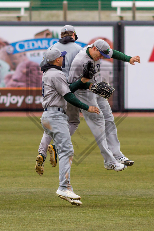 Beloit Snappers outfielder Skye Bolt (1), outfielder Steven Pallares (14) and outfielder Brett Siddall (35) during a Midwest League game against the Wisconsin Timber Rattlers on April 10th, 2016 at Fox Cities Stadium in Appleton, Wisconsin.  Beloit defeated Wisconsin  4-3. (Brad Krause/Krause Sports Photography)