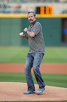 Former Major League Baseball pitcher and 1993 American League Cy Young Award winner Jack McDowell throws a split-finger fastball as a ceremonial first pitch prior to the International League game between the Durham Bulls and the Charlotte Knights at BB&T BallPark on April 14, 2016 in Charlotte, North Carolina.  The Bulls defeated the Knights 2-0.  (Brian Westerholt/Four Seam Images)