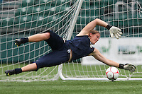 GK Nicole Barnhart practices with the USWNT. The U.S. Women's National Team holds a training session at Marina Auto Stadium in Rochester, NY on July 18, 2009 in preparation for a friendly soccer match against Canada there the next day.