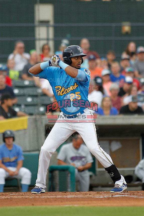 Myrtle Beach Pelicans outfielder Kevonte Mitchell (25) at bat during a game against the Winston-Salem Dash at Ticketreturn.com Field at Pelicans Ballpark on July 23, 2018 in Myrtle Beach, South Carolina. Winston-Salem defeated Myrtle Beach 6-1. (Robert Gurganus/Four Seam Images)