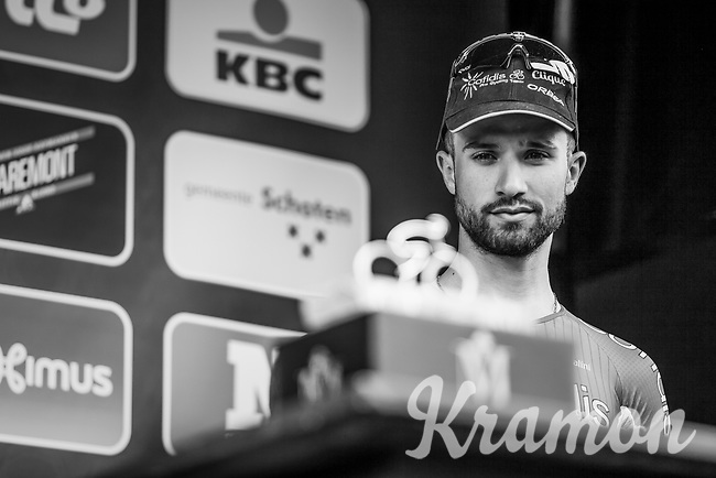 maybe next year?   Nacer Bouhanni on the podium after finishing in 3th place<br /> <br /> 105th Scheldeprijs 2017 (1.HC)<br /> 1day race: Mol &gt; Schoten 200km