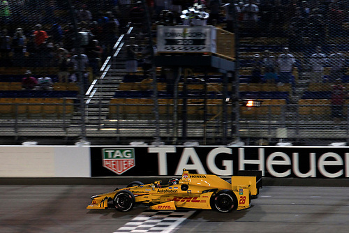 17-18 July, 2015, Newton, Iowa USA<br /> Ryan Hunter-Reay takes the checkered flag to win the race<br /> ©2015 Phillip Abbott<br /> LAT Photo USA