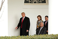 United States President Donald J. Trump waves to members of the media as he walks to the Oval Office with President of Ecuador Lenín Moreno, his wife Rocio Gonzales De Moreno, and First lady Melania Trump at the White House in Washington D.C., U.S. on Wednesday, February 12, 2020.  <br /> <br /> Credit: Stefani Reynolds / CNP/AdMedia