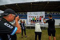 Tour jersey holders on the podium after stage two of the NZ Cycle Classic UCI Oceania Tour (Gladstone circuit) in Wairarapa, New Zealand on Thursday, 16 January 2020. Photo: Dave Lintott / lintottphoto.co.nz