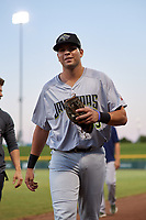 Peoria Javelinas Hudson Potts (35), of the San Diego Padres organization, before an Arizona Fall League game against the Mesa Solar Sox on September 21, 2019 at Sloan Park in Mesa, Arizona. Mesa defeated Peoria 4-1. (Zachary Lucy/Four Seam Images)
