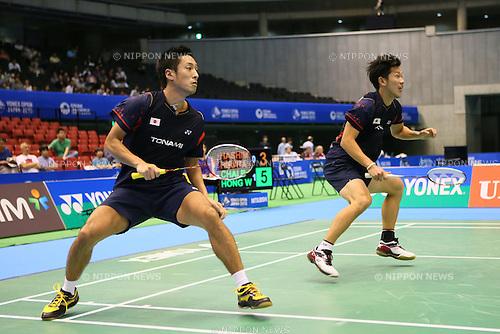 Hirokatsu Hashimoto & Noriyasu Hirata (JPN), <br /> SEPTEMBER 20, 2013 - Badminton : <br /> Yonex Open Japan 2013 <br /> Men's Doubles <br /> at Tokyo Metropolitan Gymnasium, Tokyo, Japan. <br /> (Photo by YUTAKA/AFLO SPORT) [1040]
