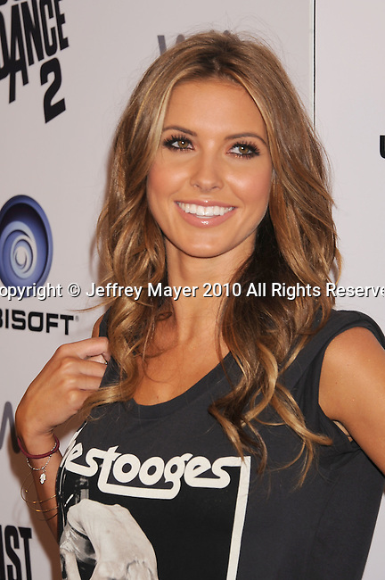 """HOLLYWOOD, CA. - October 19: Audrina Patridge arrives at the celebration of the launch of Ubisoft's """"Just Dance 2"""" at Las Palmas on October 19, 2010 in Hollywood, California."""