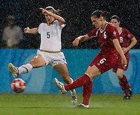 Sophie Schmidt, Lindsay Tarpley. The USWNT defeated Canada in extra time, 2-1, during the 2008 Beijing Olympics in Shanghai, China.