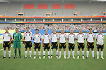 18 August 2008: Germany starting eleven.  (l to r): Birgit Prinz (GER), Nadine Angerer (GER), Kerstin Garefrekes (GER), Ariane Hingst (GER), Renate Lingor (GER), Simone Laudehr (GER), Melanie Behringer (GER), Babett Peter (GER), Kerstin Stegemann (GER), Annike Krahn (GER), Anja Mittag (GER).  The women's Olympic soccer team of Brazil defeated the women's Olympic soccer team of Germany 4-1 at Shanghai Stadium in Shanghai, China in a Semifinal match in the Women's Olympic Football competition.