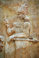 Stone relief sculptured panel of Saron II. Facade L. Inv AO 19873-4 from Dur Sharrukin the palace of Assyrian king Sargon II at Khorsabad, 713-706 BC.  Louvre Museum Room 4 , Paris