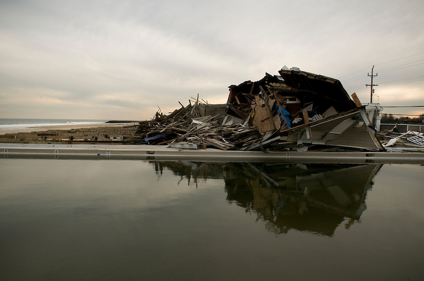 Derbies of a house, after Hurricane Sandy on the beach of Sea Bright.
