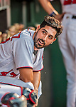 15 August 2017: Washington Nationals starting pitcher Gio Gonzalez sits in the dugout during a game against the Los Angeles Angels at Nationals Park in Washington, DC. The Nationals defeated the Angels 3-1 in the first game of their 2-game series. Mandatory Credit: Ed Wolfstein Photo *** RAW (NEF) Image File Available ***