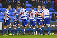Michael Morrison of Reading second right celebrates scoring the first goal during Reading vs Luton Town, Sky Bet EFL Championship Football at the Madejski Stadium on 9th November 2019
