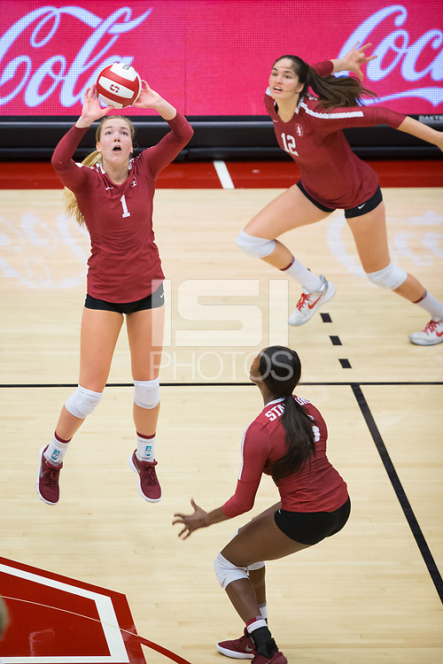 STANFORD, CA - September 9, 2018: Jenna Gray, Tami Alade, Audriana Fitzmorris at Maples Pavilion. The Stanford Cardinal defeated #1 ranked Minnesota 3-1 in the Big Ten / PAC-12 Challenge.