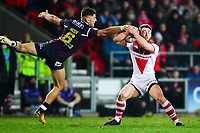 Picture by Alex Whitehead/SWpix.com - 16/03/2018 - Rugby League - Betfred Super League - St Helens v Leeds Rhinos - Totally Wicked Stadium, St Helens, England - St Helens' Danny Richardson is tackled by Leeds' Joel Moon.
