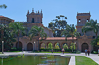 Lily, pond, Reflections, Spanish, colonial, Architecture, Scenic, View,  Balboa Park, San Diego, Ca,