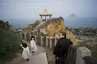Mainland Chinese tourists visit the Ho Ping Island Hi Park in Keelung, Taiwan, 2015. The park used to be under the military control for a long period of time. However, the ban was gradually lifted in the 1960s and 1970s. Since then, more tourists have come to the area. Keelung is a major port city situated in the northeastern part of Taiwan. The city is Taiwan's second largest seaport.