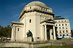 Hall of Memory war memorial in Centenary Square with Baskerville House in the background Birmingham England