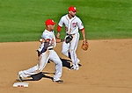 24 September 2012: Washington Nationals shortstop Ian Desmond makes a play at second against the Milwaukee Brewers at Nationals Park in Washington, DC. The Nationals defeated the Brewers 12-2 in the final game of their 4-game series, splitting the series at two. Mandatory Credit: Ed Wolfstein Photo