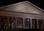 Pantheon at night Inscription Marcus Agrippa Portico detail Red and Gray Granite Corinthian Columns Hadrian Campus Martius Rome