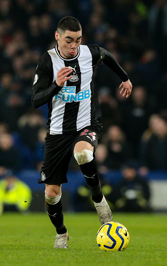 Newcastle United's Miguel Almiron<br /> <br /> Photographer Alex Dodd/CameraSport<br /> <br /> The Premier League - Everton v Newcastle United  - Tuesday 21st January 2020 - Goodison Park - Liverpool<br /> <br /> World Copyright © 2020 CameraSport. All rights reserved. 43 Linden Ave. Countesthorpe. Leicester. England. LE8 5PG - Tel: +44 (0) 116 277 4147 - admin@camerasport.com - www.camerasport.com