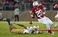 Stanford Cardinal cornerback Alex Carter (25) nearly picks off a pass intended for rish wide receiver Corey Robinson (88) in the second quarter.