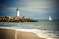 A picture perfect sunny day at the Walton Lighthouse on the shoreline of Santa Cruz, California