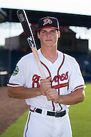 Danville Braves outfielder Bradley Keller (25) poses for a photo prior to the game against the Pulaski Yankees at American Legion Post 325 Field on August 1, 2016 in Danville, Virginia.  The Yankees defeated the Braves 4-1.  (Brian Westerholt/Four Seam Images)