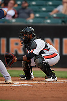 Aberdeen IronBirds catcher Lenin Rodriguez (50) during a NY-Penn League game against the Vermont Lake Monsters on August 19, 2019 at Leidos Field at Ripken Stadium in Aberdeen, Maryland.  Aberdeen defeated Vermont 6-2.  (Mike Janes/Four Seam Images)