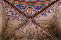 Painted vaulted ceiling of a side chapel, by the Master of Rieux, with St Veronica holding her veil, in the 12th century cathedral of Saint Maurice de Mirepoix, Mirepoix, Ariege, Midi-Pyrenees, France. The cathedral was restored in the 19th century by Prosper Merimee et Eugene Viollet-le-Duc and is listed as a national monument. Picture by Manuel Cohen