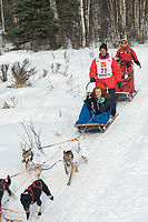 Jacques Philip w/Iditarider on Trail 2005 Iditarod Ceremonial Start near Campbell Airstrip Alaska SC