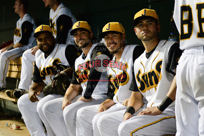 Jacksonville Suns Wilfredo Gimenez, Ryan Rieger, Alfredo Lopez and Brent Keys during game three of the Southern League Championship Series against the Chattanooga Lookouts on September 12, 2014 at Bragan Field in Jacksonville, Florida.  Jacksonville defeated Chattanooga 6-1 to sweep three games to none.  (Mike Janes/Four Seam Images)