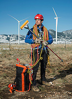 Wind turbine cleaner Trask Bradbury near a wind testing site outside Boulder, Colorado. Shot for Mental Floss Magazine.