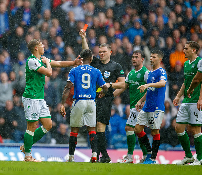 11.08.2019 Rangers v Hibs: Sean Mackie handballs and is sent off