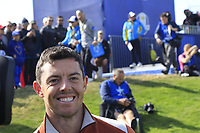 Rory McIlroy and Sergio Garcia (Team Europe) win the match against Tony Finau and Rickie Fowler (Team USA) on the 17th green during Saturday's Fourball Matches at the 2018 Ryder Cup 2018, Le Golf National, Ile-de-France, France. 29/09/2018.<br /> Picture Eoin Clarke / Golffile.ie<br /> <br /> All photo usage must carry mandatory copyright credit (&copy; Golffile | Eoin Clarke)