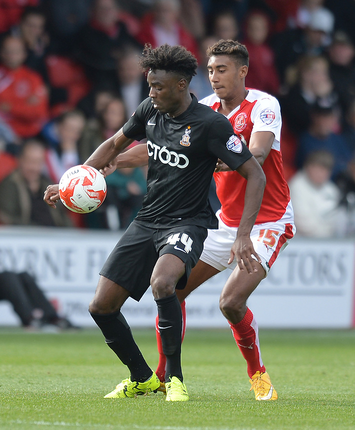 Fleetwood Town's Victor Nirennold battles with Bradford City's Devante Cole<br /> <br /> Photographer Dave Howarth/CameraSport<br /> <br /> Football - The Football League Sky Bet League One -  Fleetwood Town v Bradford City - Saturday 12th September 2015 -  Highbury Stadium - Fleetwood <br /> <br /> &copy; CameraSport - 43 Linden Ave. Countesthorpe. Leicester. England. LE8 5PG - Tel: +44 (0) 116 277 4147 - admin@camerasport.com - www.camerasport.com