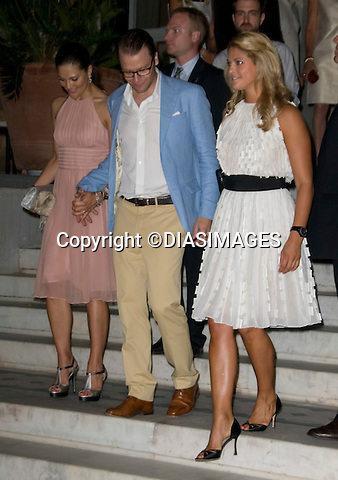 """CROWN PRINCESS VICTORIA, DANIEL WESTLING AND PRINCESS MADELEINE.PRINCE NIKOLAOS AND TATIANA BLATNIK PRE-WEDDING PARTY_.hosted by his parents King Constantine and  Queen Anne Marie at the Poseidonion Grace Hotel, Spetses_24/08/2010.Mandatory Credit Photo: ©DIASIMAGES..**ALL FEES PAYABLE TO: """"NEWSPIX INTERNATIONAL""""**..IMMEDIATE CONFIRMATION OF USAGE REQUIRED:.Newspix International, 31 Chinnery Hill, Bishop's Stortford, ENGLAND CM23 3PS.Tel:+441279 324672  ; Fax: +441279656877.Mobile:  07775681153.e-mail: info@newspixinternational.co.uk"""