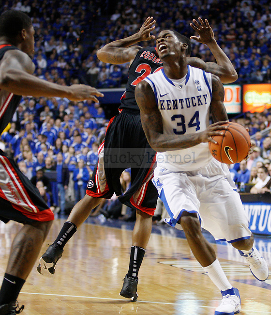 DeAndre Liggines drives to the net in the first half of the UK men's basketball win over against the Georgia Bulldogs at Rupp Arena  on Jan. 18, 2011. Photo by Britney McIntosh | Staff