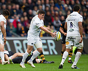 1st October 2017, Ricoh Arena, Coventry, England; Aviva Premiership rugby, Wasps versus Bath Rugby;  Baths replacement fly-half Freddie Burns kicks for position
