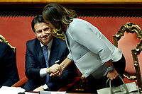 Luciana Lamorgese and Giuseppe Conte<br /> Rome September 10th 2019. Senate. Discussion and Trust vote at the new Government. <br /> Foto  Samantha Zucchi Insidefoto