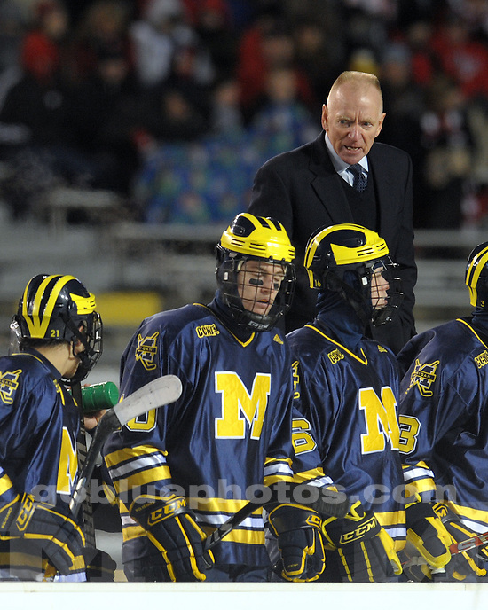 February 6, 2010: Michigan Ice Hockey vs Wisconsin at the Camp Randall Classic in Madison, WI.