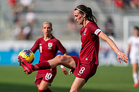 FRISCO, TX - MARCH 11: Jill Scott #8 of England controls the ball during a game between England and Spain at Toyota Stadium on March 11, 2020 in Frisco, Texas.