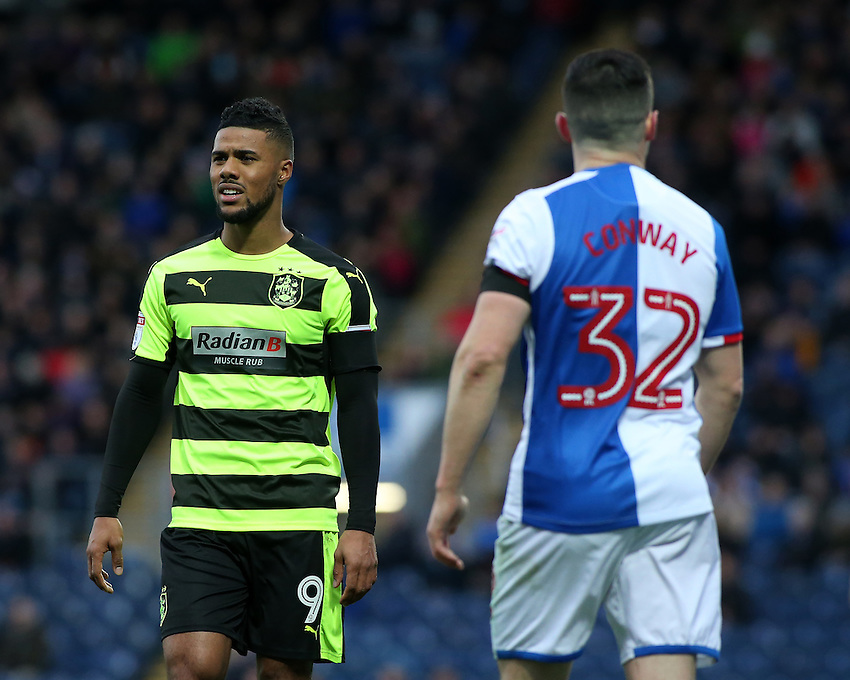Huddersfield Town's Elias Kachunga in action during todays match  <br /> <br /> Photographer David Shipman/CameraSport<br /> <br /> The EFL Sky Bet Championship - Blackburn Rovers v Huddersfield Town - Saturday 3rd December 2016 - Ewood Park - Blackburn<br /> <br /> World Copyright &copy; 2016 CameraSport. All rights reserved. 43 Linden Ave. Countesthorpe. Leicester. England. LE8 5PG - Tel: +44 (0) 116 277 4147 - admin@camerasport.com - www.camerasport.com