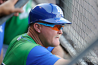 Bench coach Glenn Hubbard (17) of the Lexington Legends in a game against the Greenville Drive on Friday, August 29, 2014, at Fluor Field at the West End in Greenville, South Carolina. Greenville won, 6-1. (Tom Priddy/Four Seam Images)